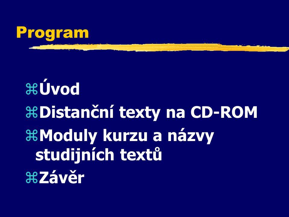Program Úvod Distanční texty na CD-ROM Moduly kurzu a názvy studijních textů Závěr