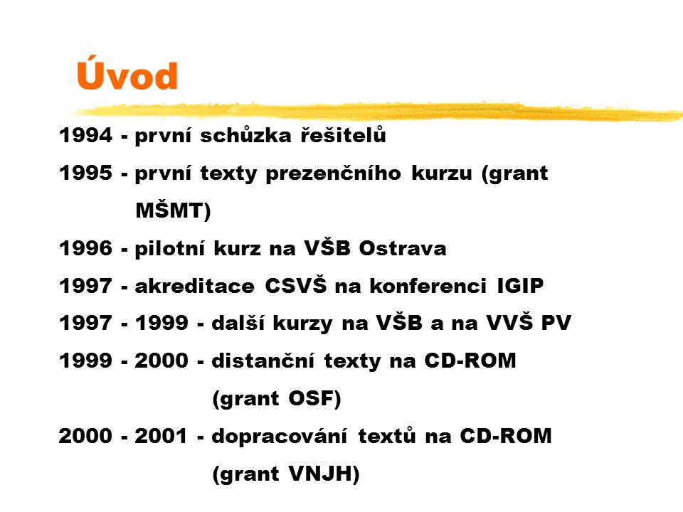 Úvod 1994 - první schůzka řešitelů