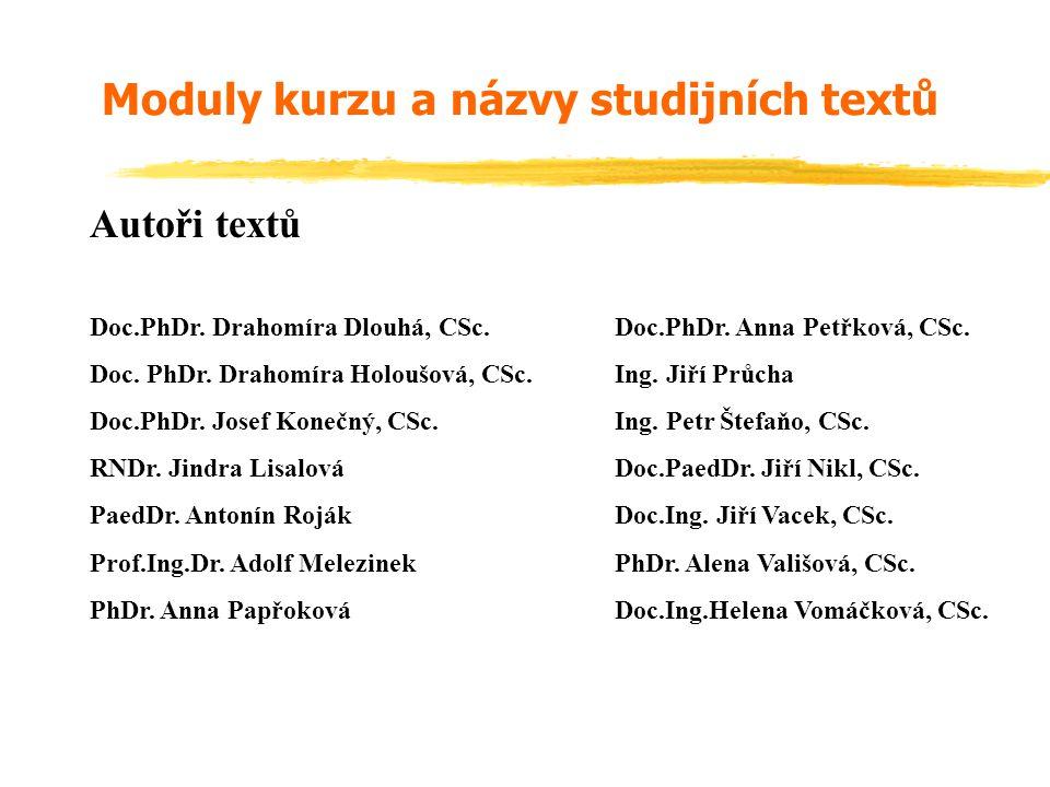 Moduly kurzu a názvy studijních textů