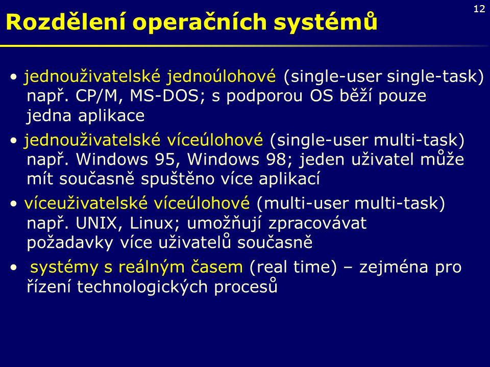 Rozdělení operačních systémů
