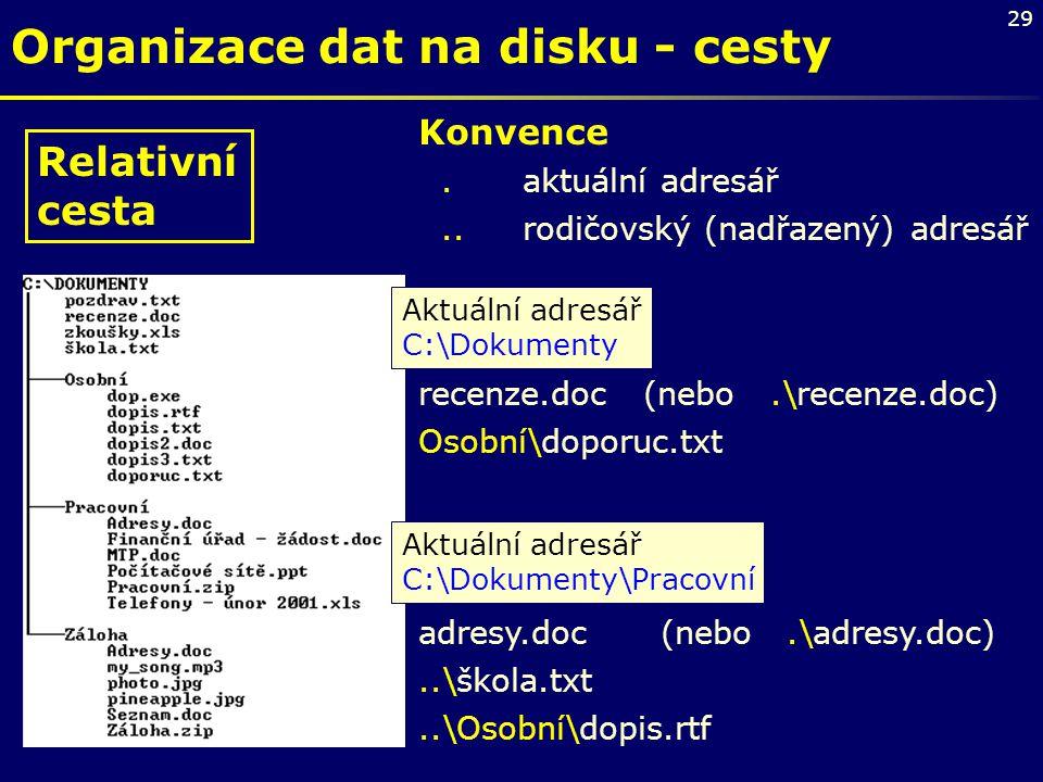 Organizace dat na disku - cesty