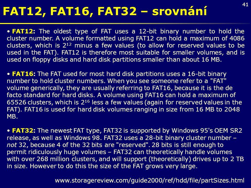 FAT12, FAT16, FAT32 – srovnání