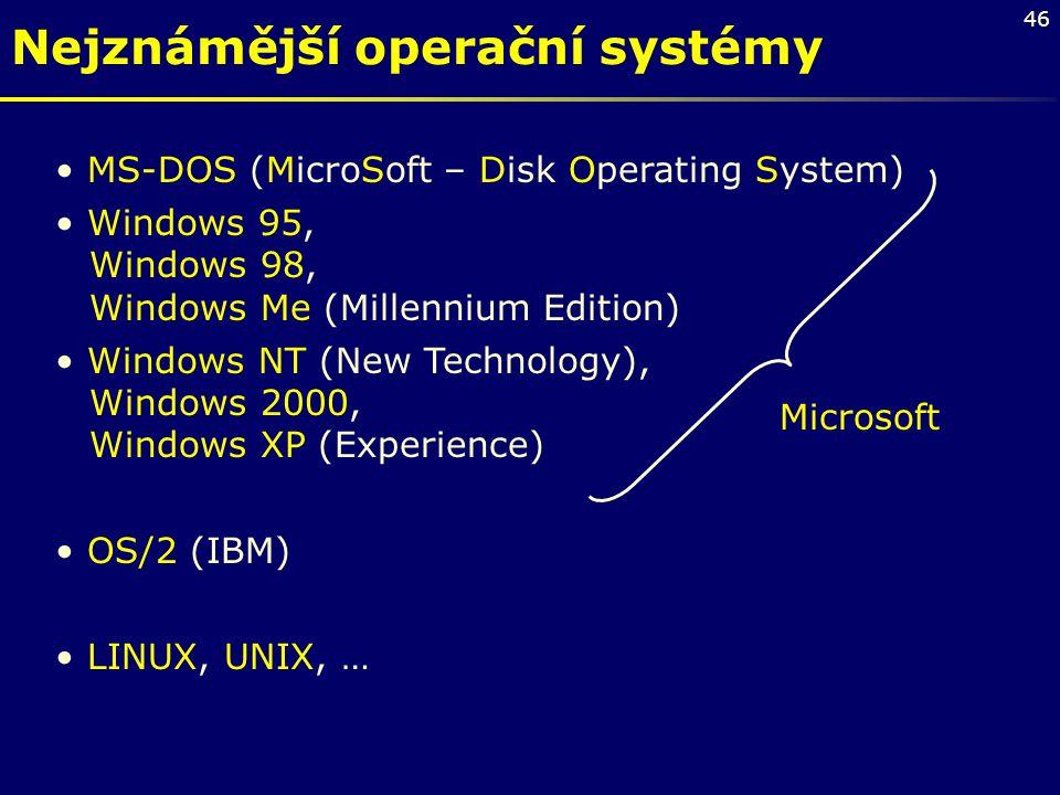 Nejznámější operační systémy