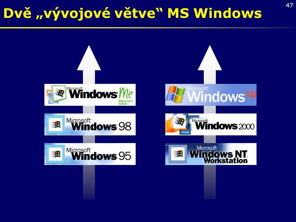"""Dvě """"vývojové větve MS Windows"""