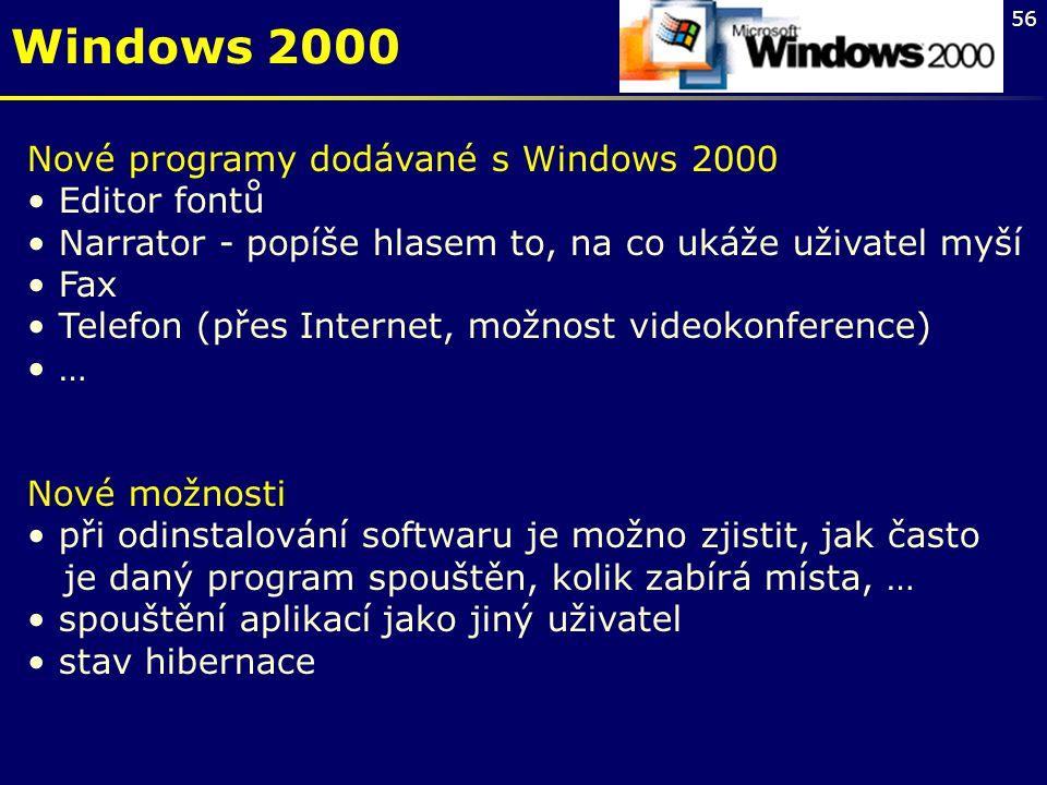 Windows 2000 Nové programy dodávané s Windows 2000 Editor fontů