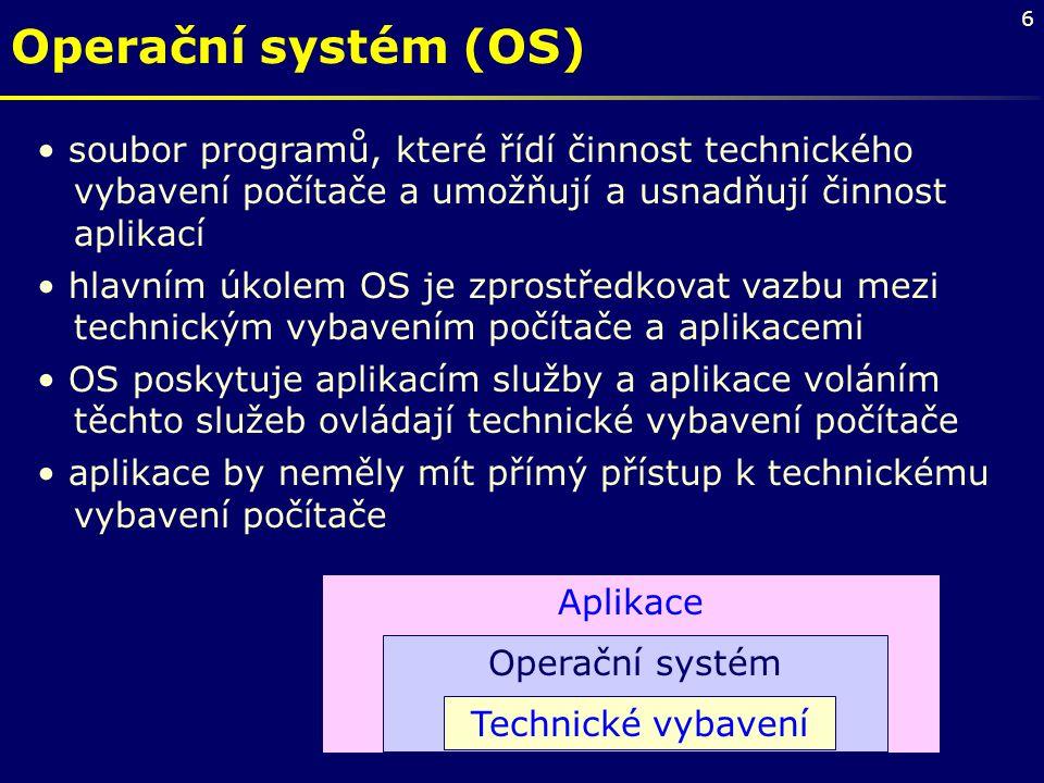 Operační systém (OS) soubor programů, které řídí činnost technického vybavení počítače a umožňují a usnadňují činnost aplikací.