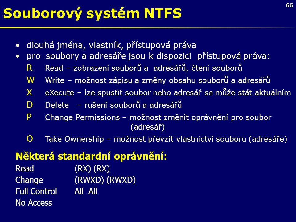 Souborový systém NTFS Některá standardní oprávnění: