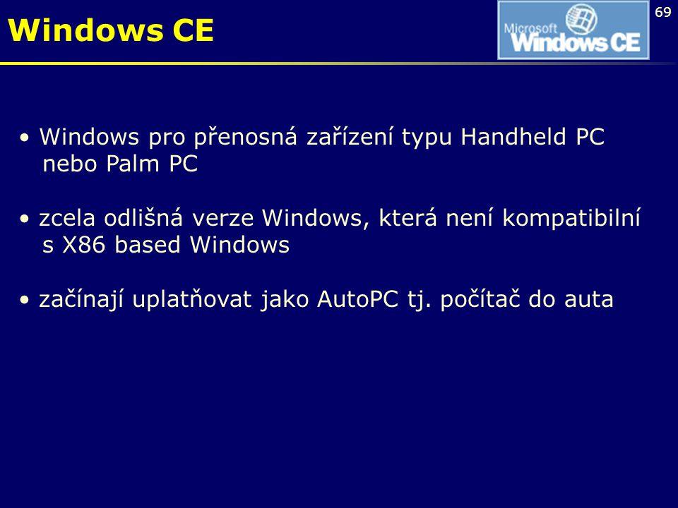 Windows CE Windows pro přenosná zařízení typu Handheld PC nebo Palm PC