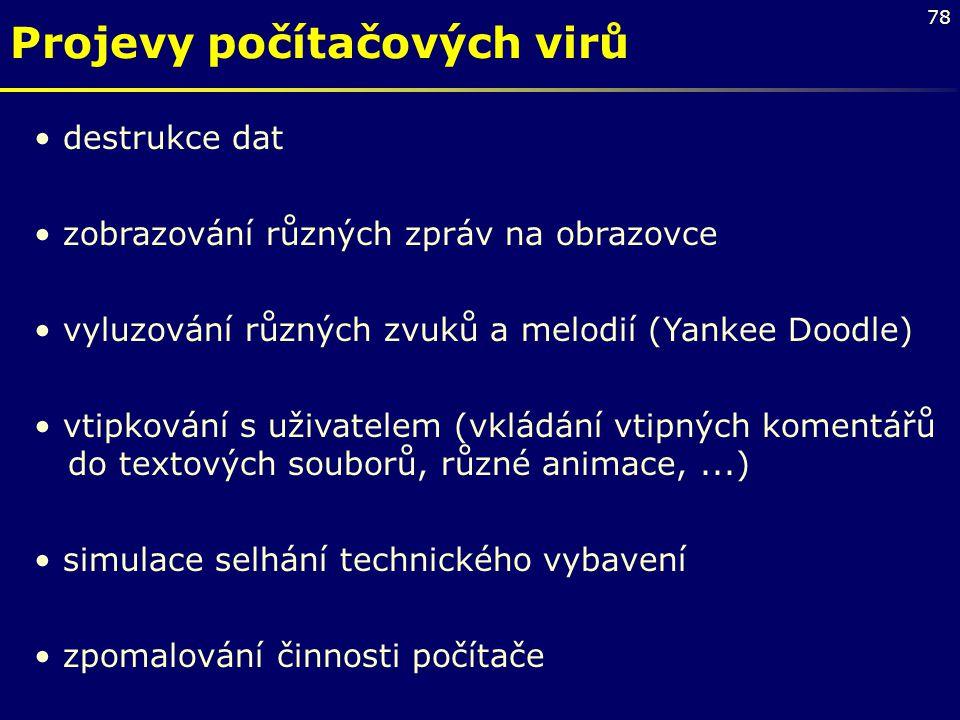 Projevy počítačových virů