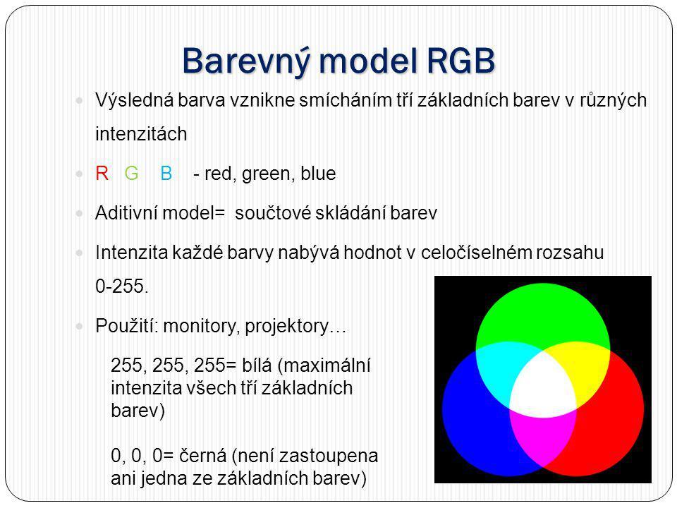 Barevný model RGB Výsledná barva vznikne smícháním tří základních barev v různých intenzitách. R G B - red, green, blue.