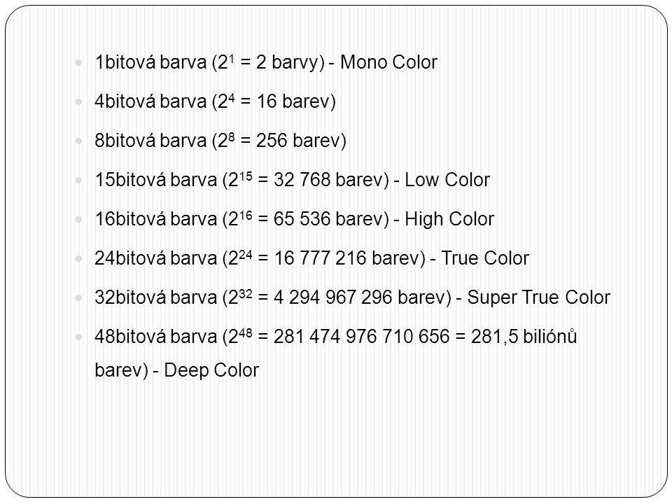 1bitová barva (21 = 2 barvy) - Mono Color