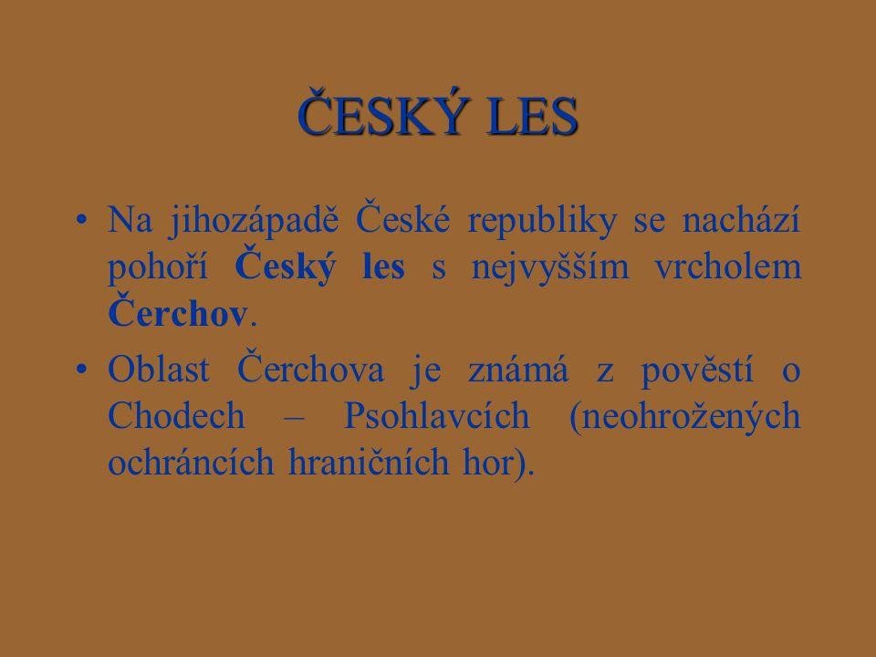 ČESKÝ LES Na jihozápadě České republiky se nachází pohoří Český les s nejvyšším vrcholem Čerchov.
