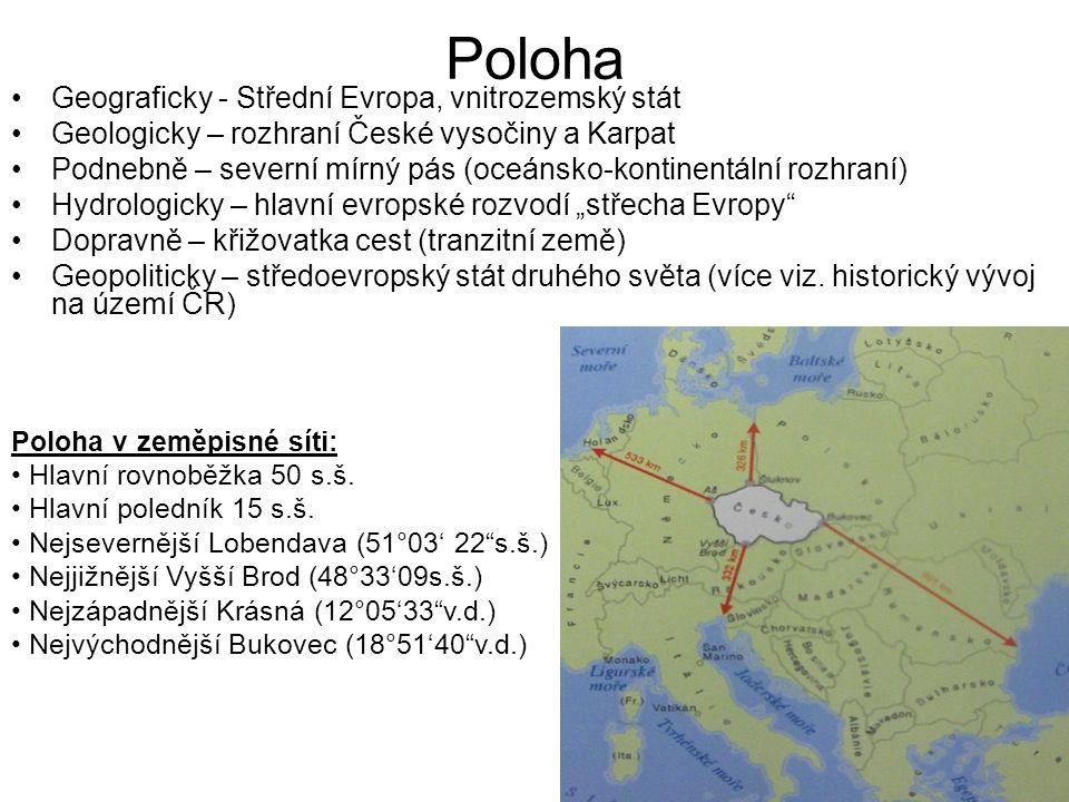 Poloha Geograficky - Střední Evropa, vnitrozemský stát