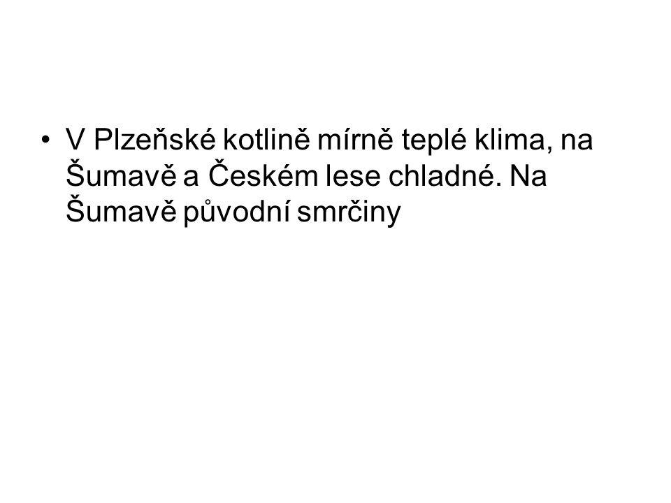 V Plzeňské kotlině mírně teplé klima, na Šumavě a Českém lese chladné