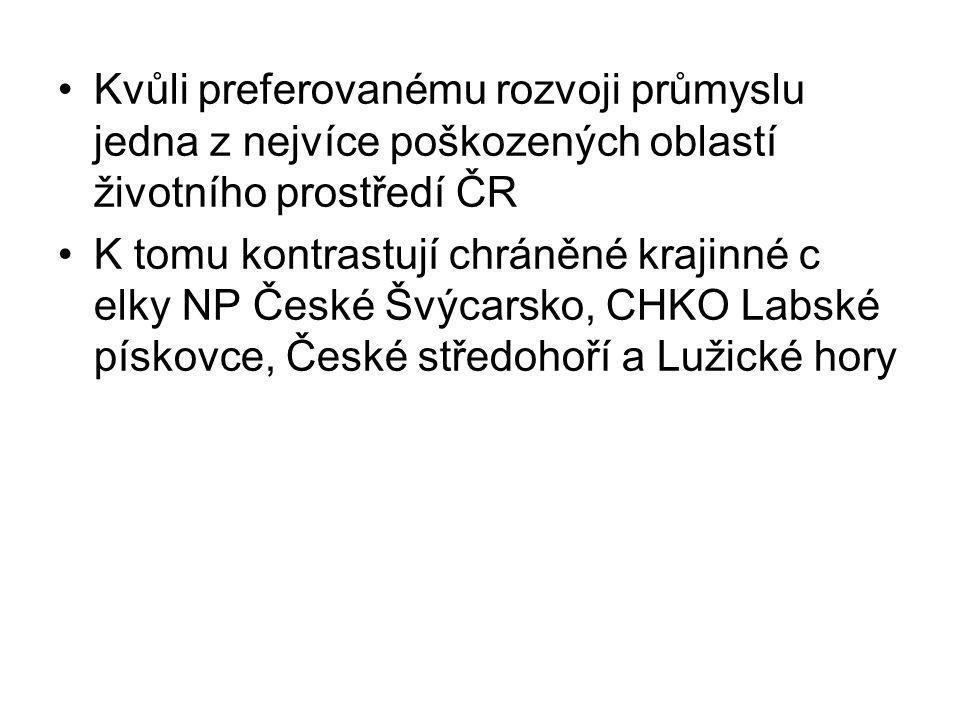 Kvůli preferovanému rozvoji průmyslu jedna z nejvíce poškozených oblastí životního prostředí ČR