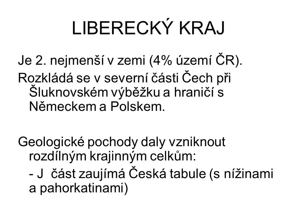 LIBERECKÝ KRAJ Je 2. nejmenší v zemi (4% území ČR).