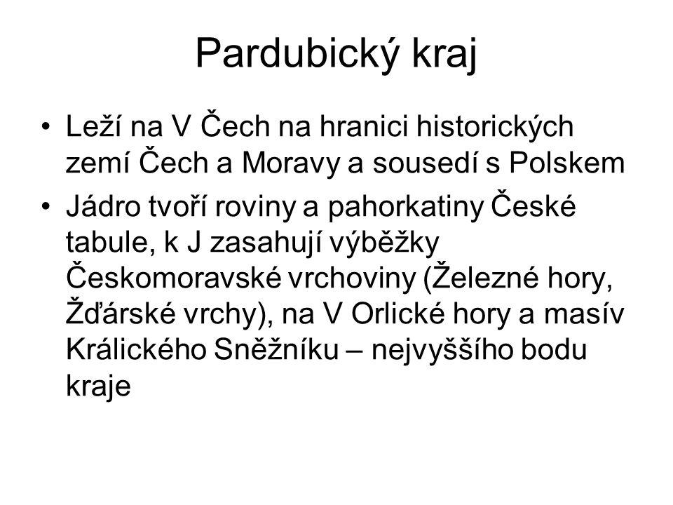 Pardubický kraj Leží na V Čech na hranici historických zemí Čech a Moravy a sousedí s Polskem.