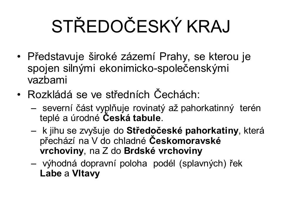 STŘEDOČESKÝ KRAJ Představuje široké zázemí Prahy, se kterou je spojen silnými ekonimicko-společenskými vazbami.