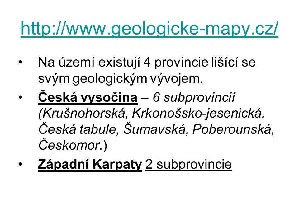 http://www.geologicke-mapy.cz/ Na území existují 4 provincie lišící se svým geologickým vývojem.