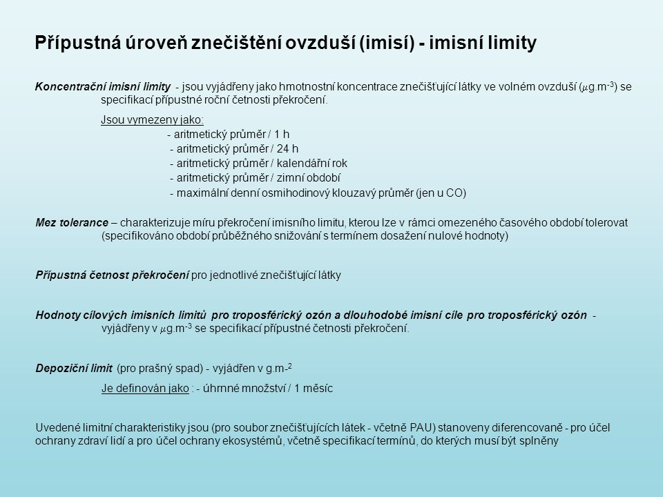 Přípustná úroveň znečištění ovzduší (imisí) - imisní limity