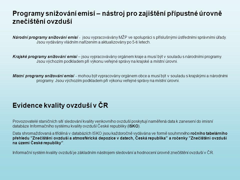 Evidence kvality ovzduší v ČR