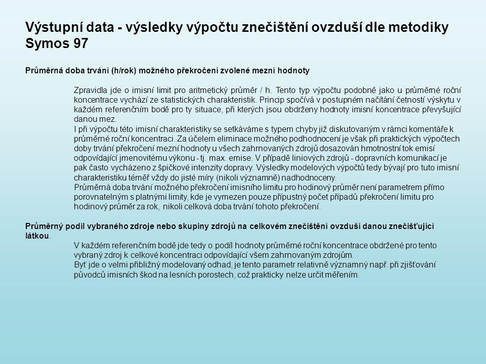 Výstupní data - výsledky výpočtu znečištění ovzduší dle metodiky Symos 97