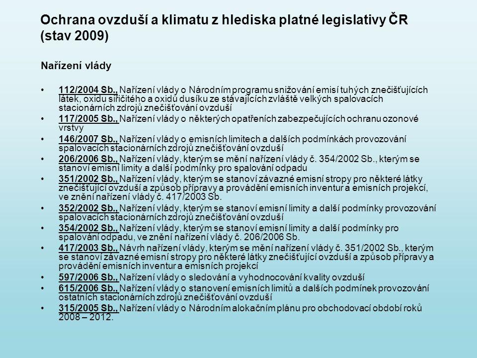 Ochrana ovzduší a klimatu z hlediska platné legislativy ČR (stav 2009)