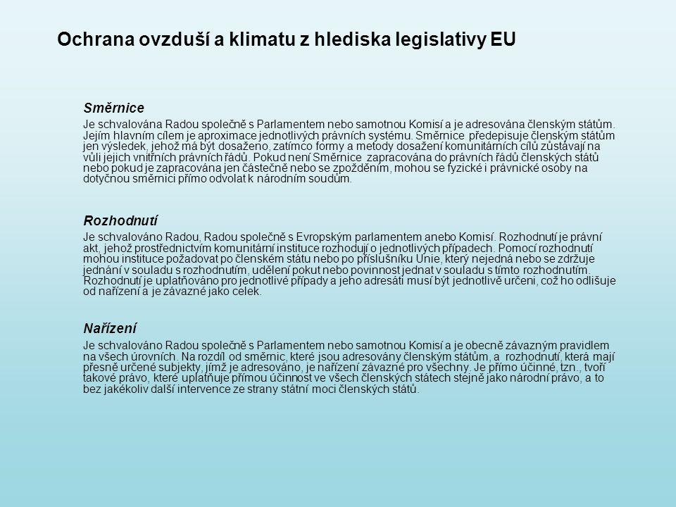 Ochrana ovzduší a klimatu z hlediska legislativy EU