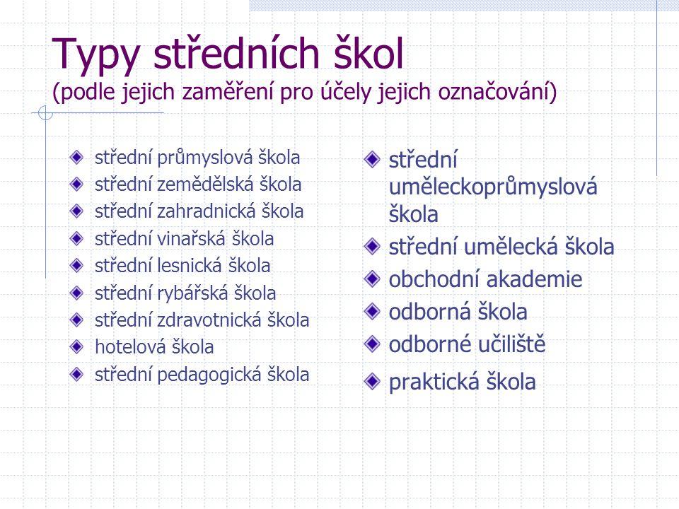 Typy středních škol (podle jejich zaměření pro účely jejich označování)