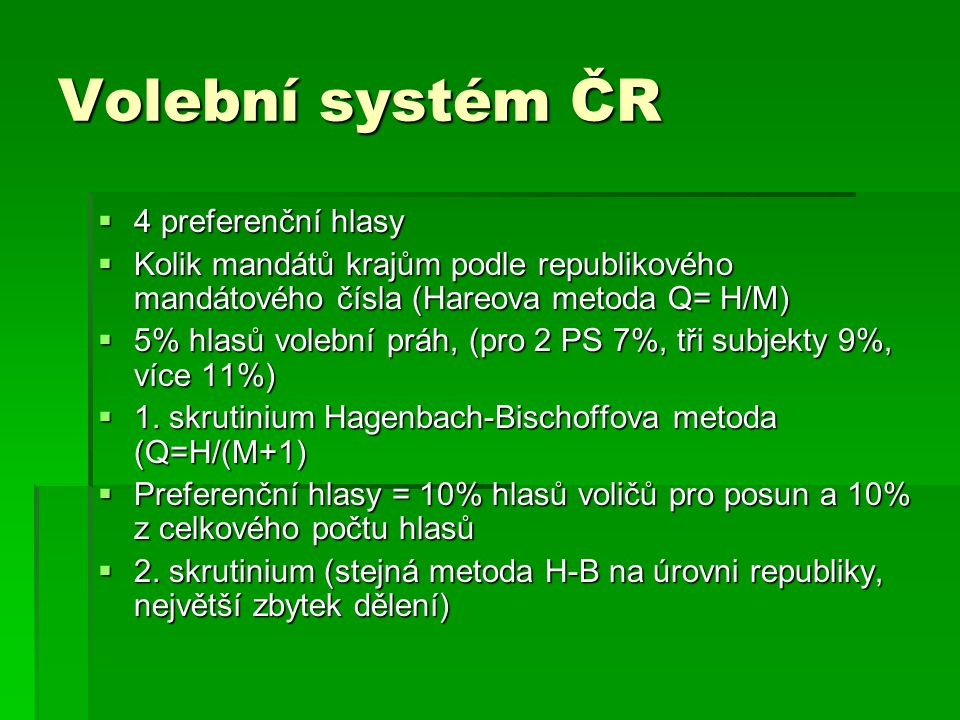 Volební systém ČR 4 preferenční hlasy