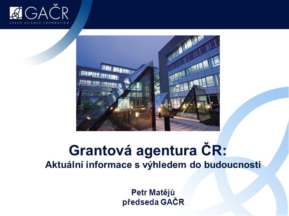 Grantová agentura ČR: Aktuální informace s výhledem do budoucnosti