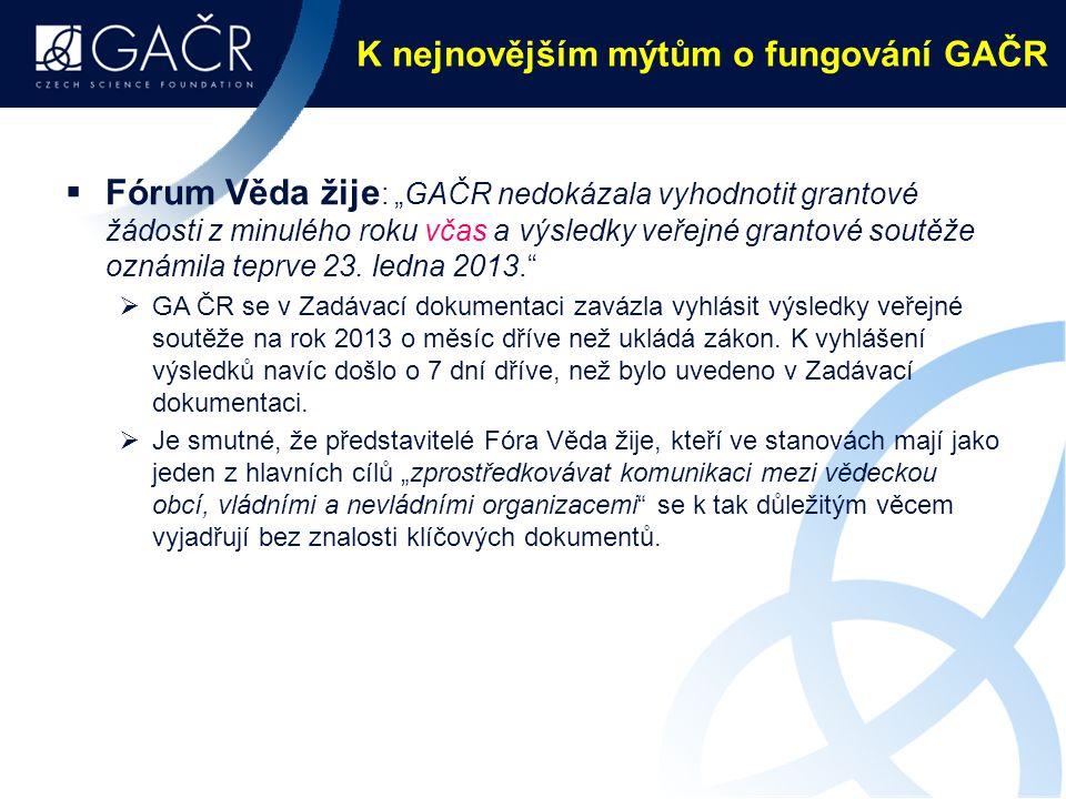 K nejnovějším mýtům o fungování GAČR