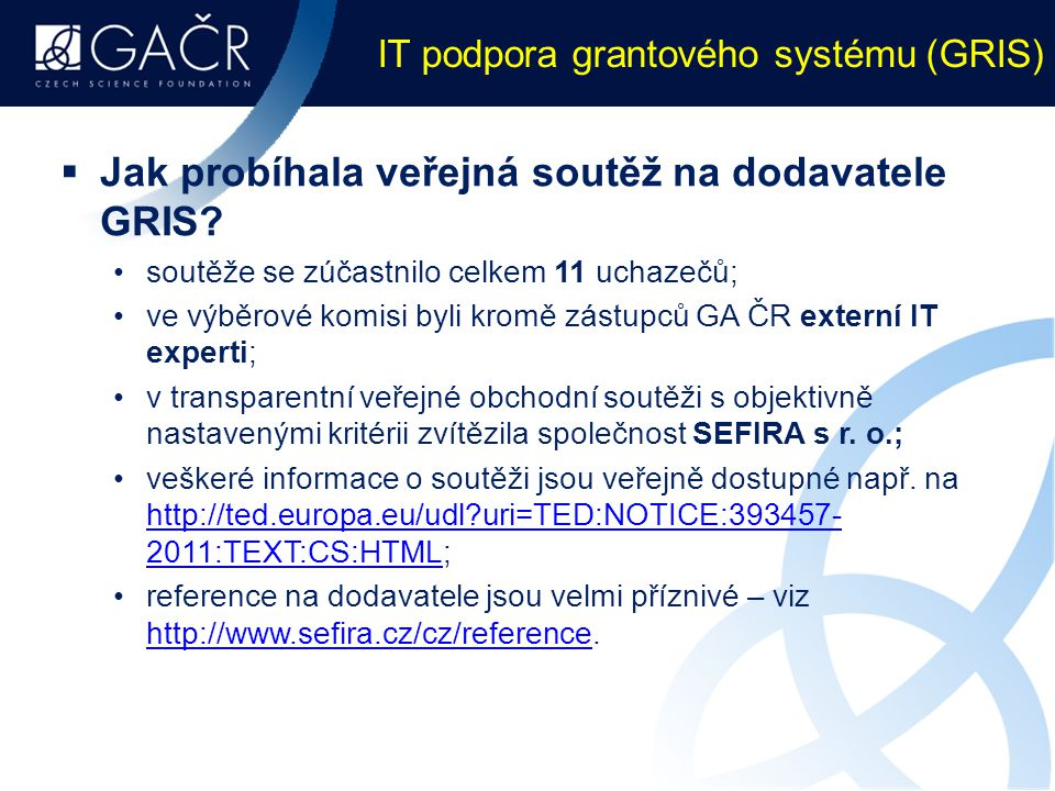 IT podpora grantového systému (GRIS)