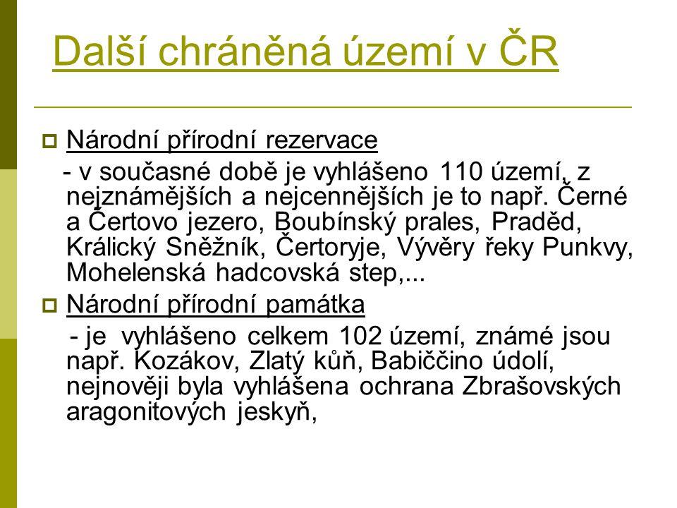 Další chráněná území v ČR