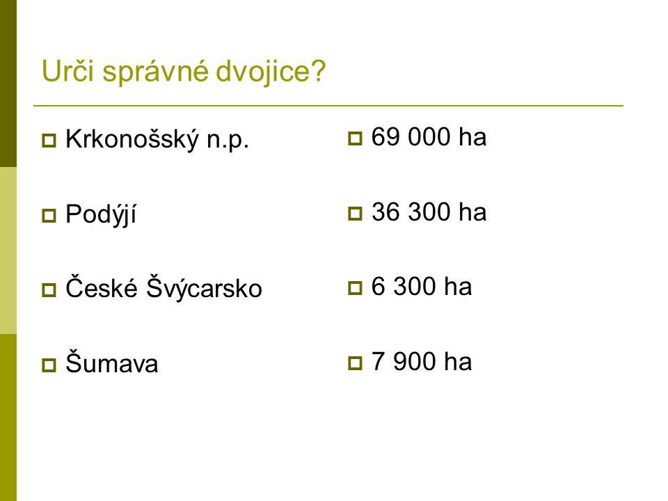 Urči správné dvojice Krkonošský n.p. 69 000 ha Podýjí 36 300 ha