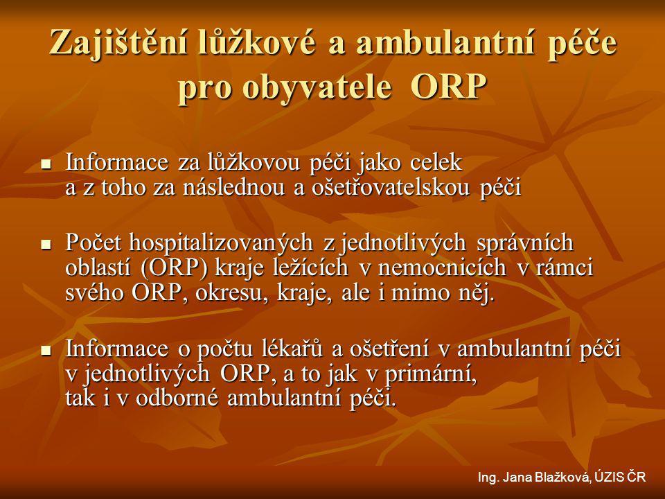 Zajištění lůžkové a ambulantní péče pro obyvatele ORP