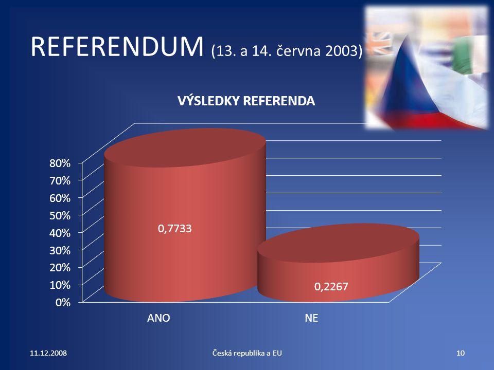 REFERENDUM (13. a 14. června 2003) 11.12.2008 Česká republika a EU