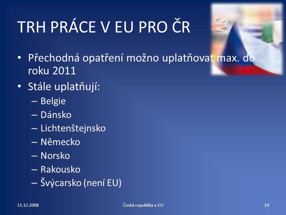 TRH PRÁCE V EU PRO ČR Přechodná opatření možno uplatňovat max. do roku 2011. Stále uplatňují: Belgie.