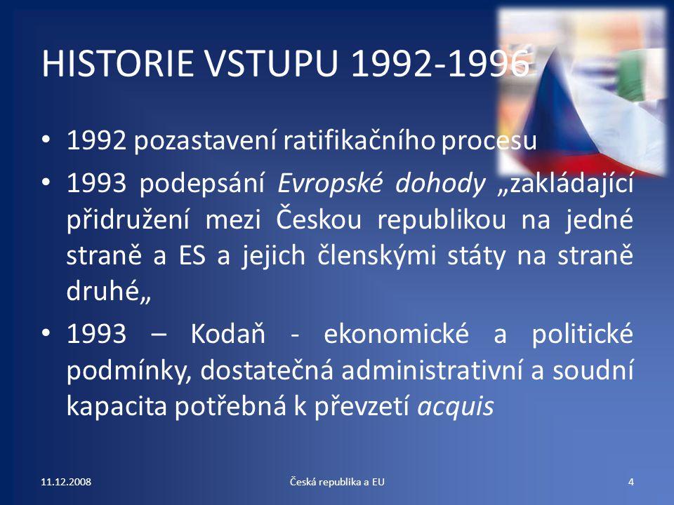 HISTORIE VSTUPU 1992-1996 1992 pozastavení ratifikačního procesu