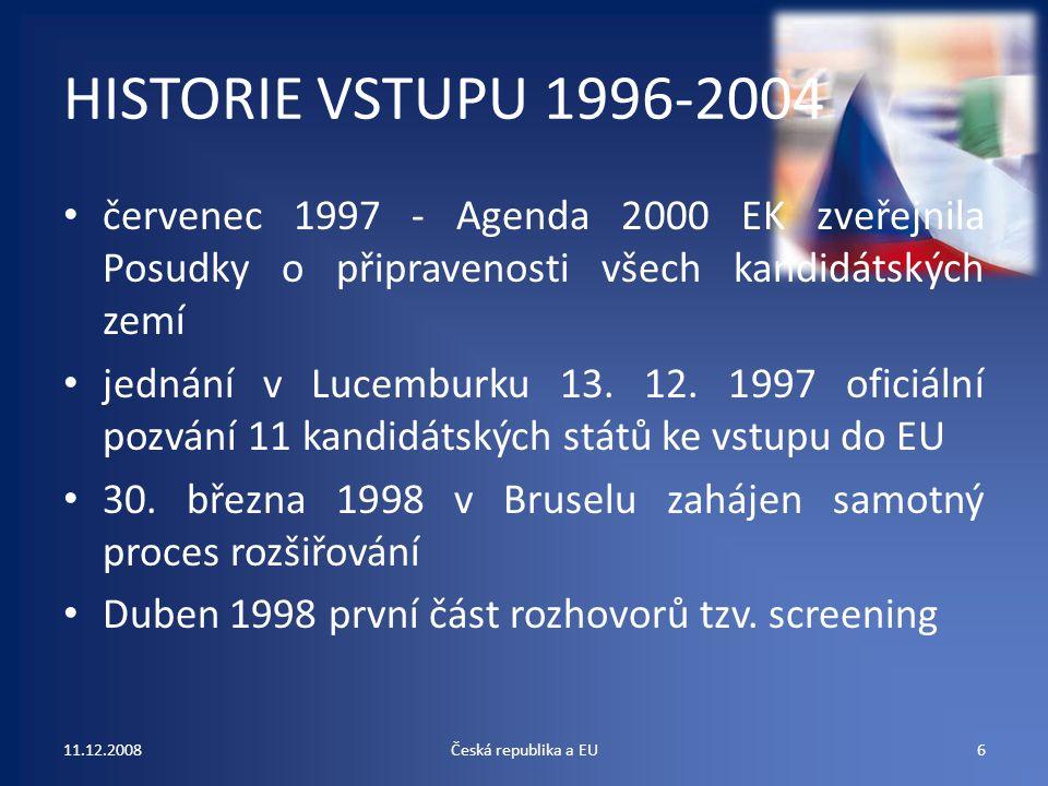 HISTORIE VSTUPU 1996-2004 červenec 1997 - Agenda 2000 EK zveřejnila Posudky o připravenosti všech kandidátských zemí.
