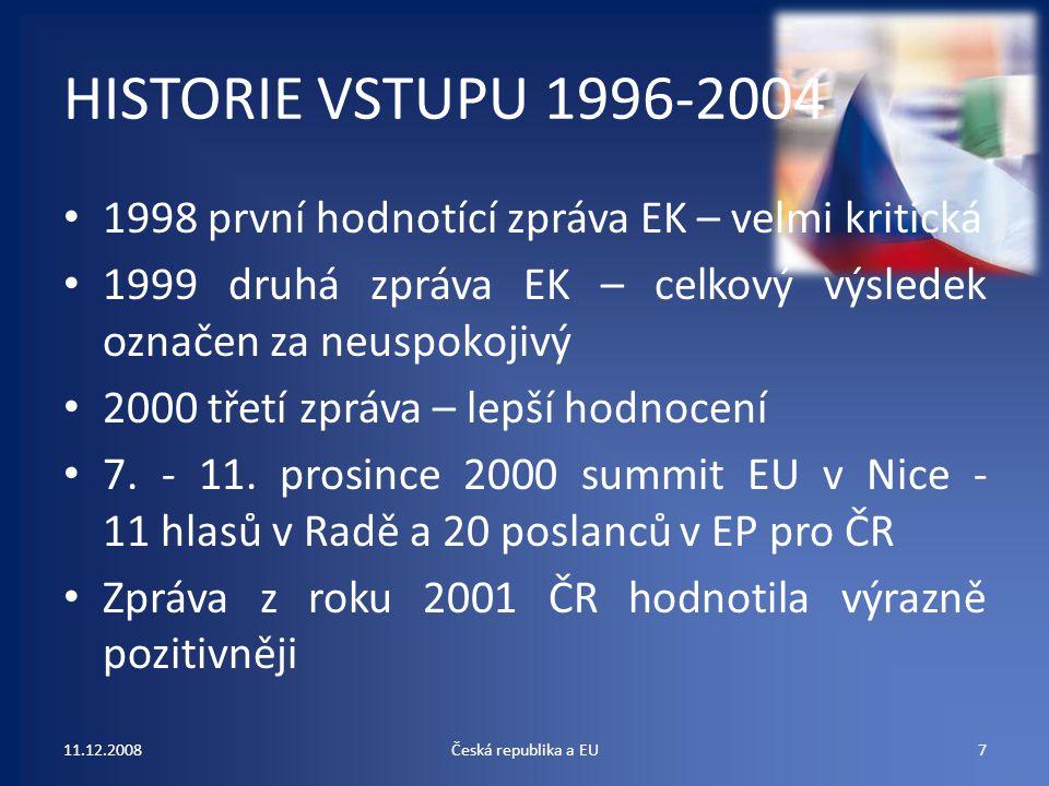 HISTORIE VSTUPU 1996-2004 1998 první hodnotící zpráva EK – velmi kritická. 1999 druhá zpráva EK – celkový výsledek označen za neuspokojivý.