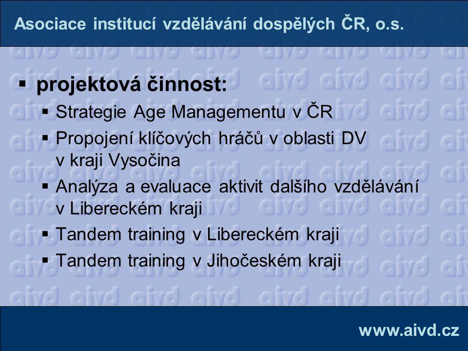 projektová činnost: Strategie Age Managementu v ČR