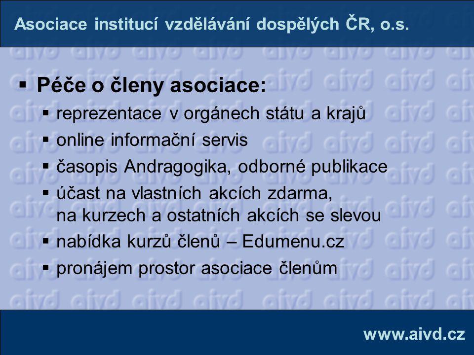 Péče o členy asociace: reprezentace v orgánech státu a krajů
