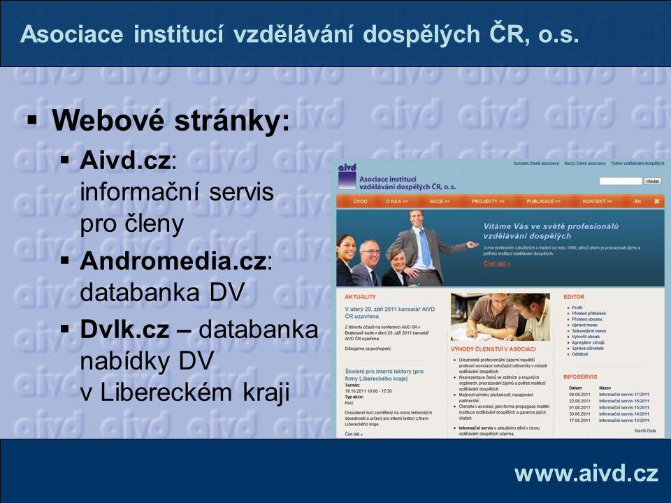 Webové stránky: Aivd.cz: informační servis pro členy