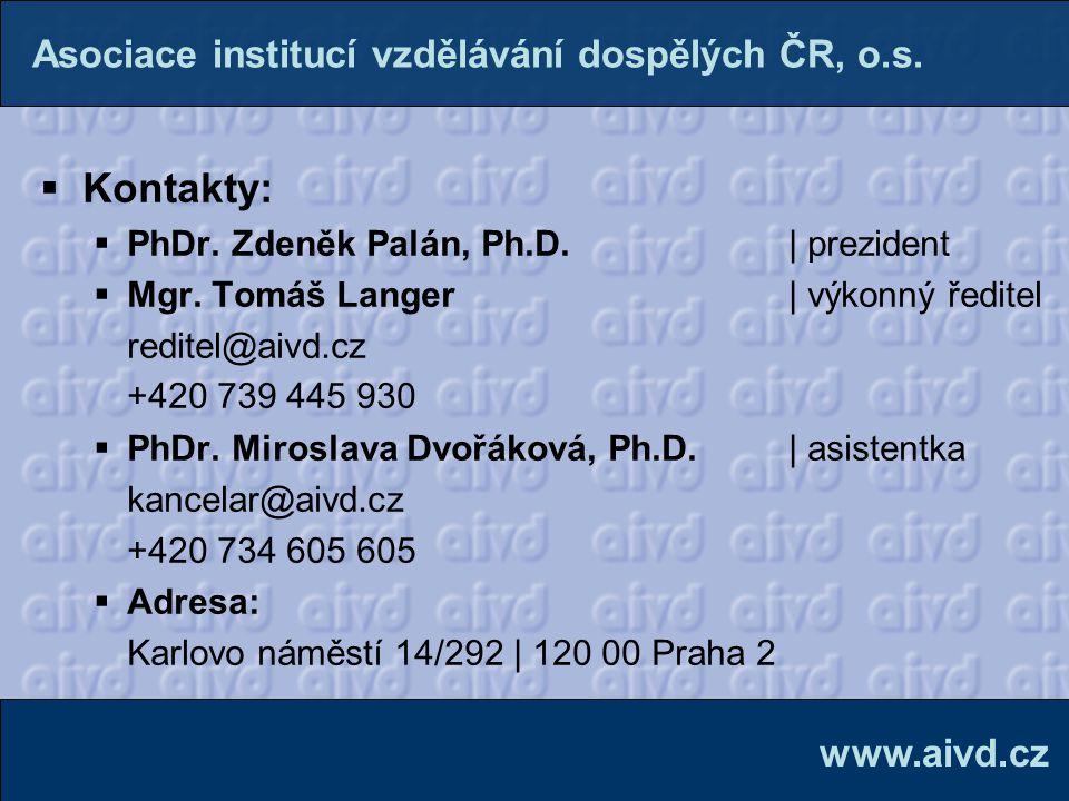 Kontakty: Asociace institucí vzdělávání dospělých ČR, o.s. www.aivd.cz