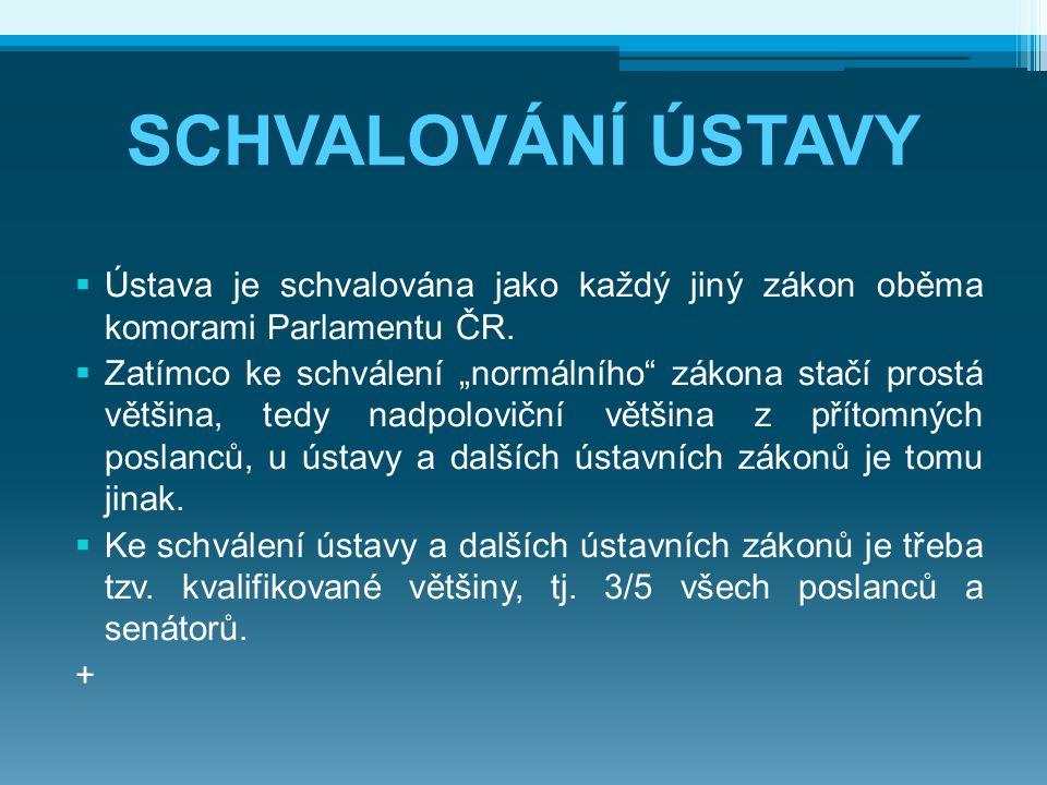 SCHVALOVÁNÍ ÚSTAVY Ústava je schvalována jako každý jiný zákon oběma komorami Parlamentu ČR.