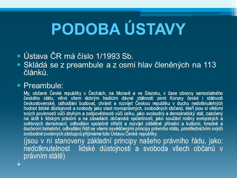 PODOBA ÚSTAVY Ústava ČR má číslo 1/1993 Sb.