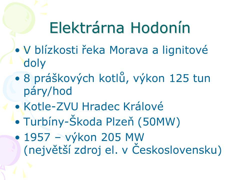 Elektrárna Hodonín V blízkosti řeka Morava a lignitové doly