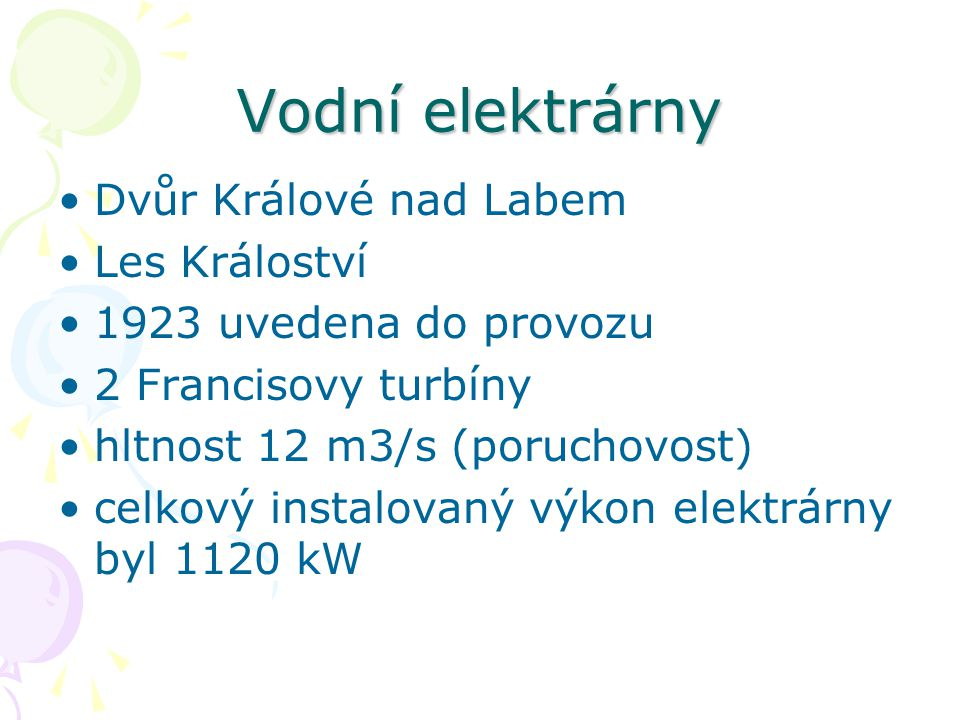 Vodní elektrárny Dvůr Králové nad Labem Les Králoství