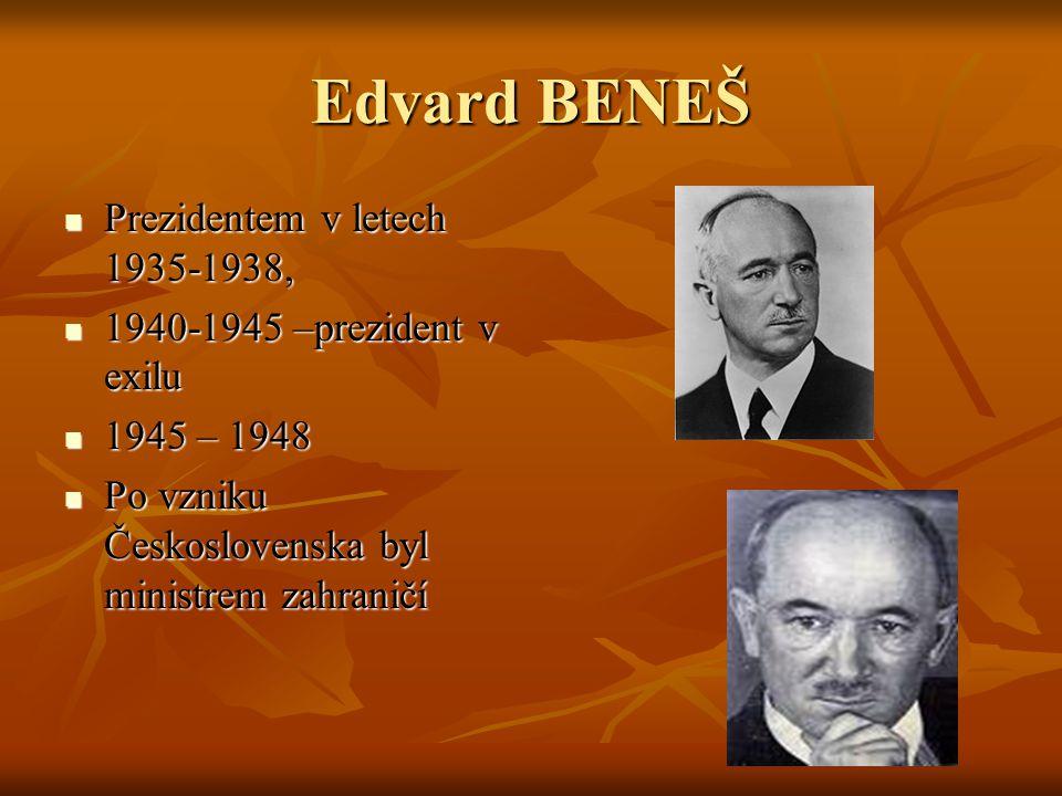 Edvard BENEŠ Prezidentem v letech 1935-1938,